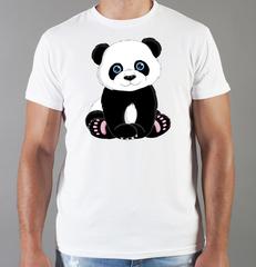 Футболка с принтом Панда, Медвежонок (Panda) белая 008