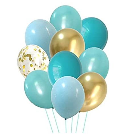 Облако воздушных гелиевых шаров Оттенки бирюзового с золотым