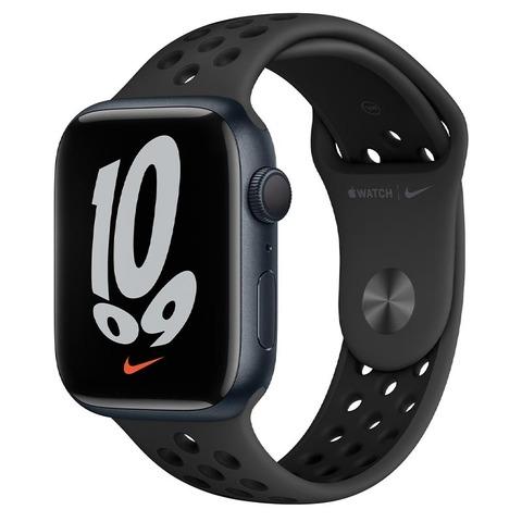 Apple Watch Nike Series 7, GPS, 45 мм, корпус из алюминия цвета «тёмная ночь», спортивный ремешок Nike цвета «антрацитовый/чёрный»