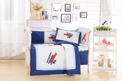 Детский КПБ в кроватку с бортиками из 7 предметов