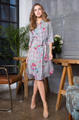 Платье-рубашка цветочный принт