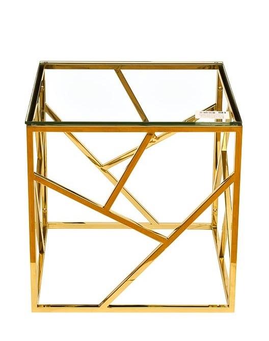 Стол журнальный GY-ET2051214GOLD прозр.стекло/золото 50*50*50см