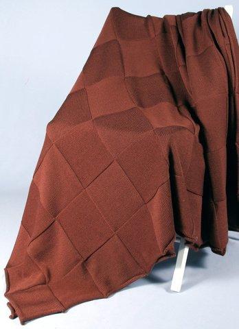 Плед шерстяной вязаный Квадрат коричневый