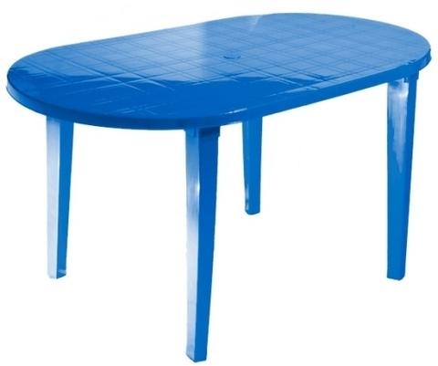 Пластиковый стол овальный синий