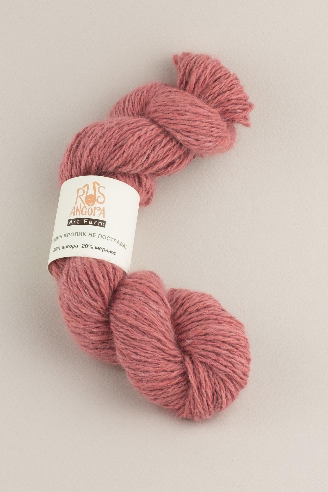 Пряжа из 100% ангоры ручной работы розовый кварц