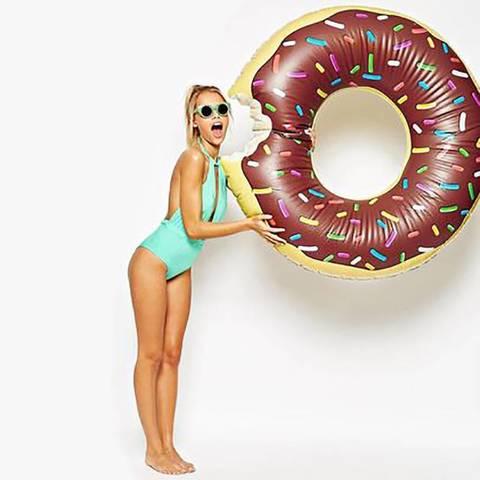 Надувной круг для плавания пончик шоколадный Chocolate Donut 90см