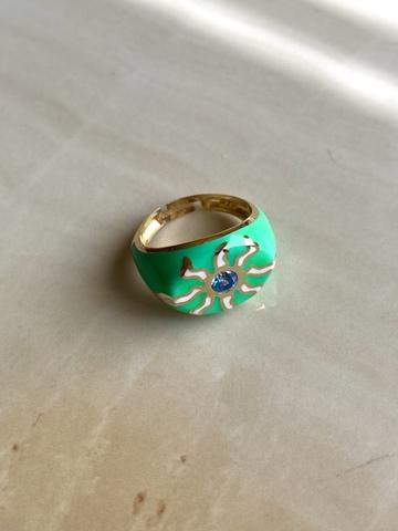 Кольцо Фудзи зеленое, позолота