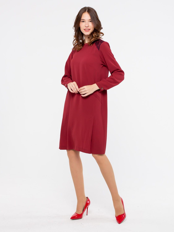 Платье З121-127 - Платье прямого силуэта с длинными рукавами, на подкладке. Плечи декорированы кружевом в тон основной ткани. Однотонный цвет гармонирует с самыми разными вариантами аксессуаров и даёт возможность получить много оригинальных идей для безупречного образа. Пояс в комплект не входит