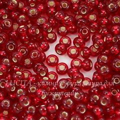 97090 Бисер 6/0 Preciosa прозрачный темно-красный с серебряным центром