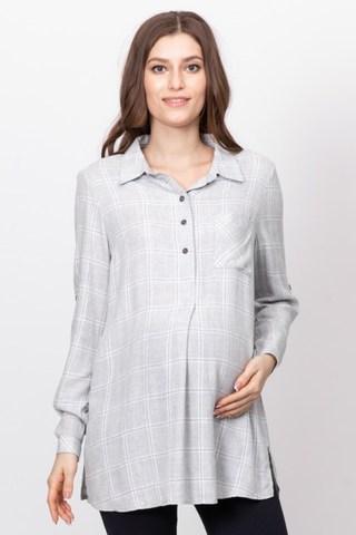 Рубашка для беременных 10869 серый
