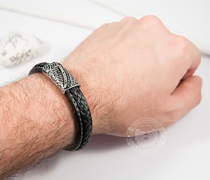BM399 Стильный мужской браслет из кожи черного цвета и стали (21,5 см) фото 07