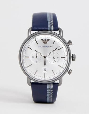 Emporio Armani Aviator часы-хронограф с кожаным ремешком