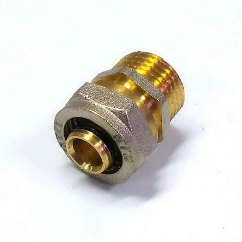 Муфта обжимная для металлопластиковых труб 16х1/2 наружная  резьба Valve