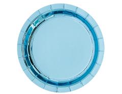 Тарелки фольгированные, Голубой, 17 см, 6 шт, 1 уп.