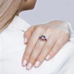 92011725 - Серебряное кольцо с прямоугольным ситаллом с эффектом ОМБРЕ