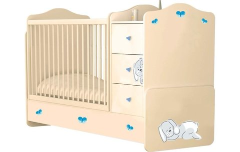 Кроватка детская Polini kids Зайки с комодом, бежевый-синий