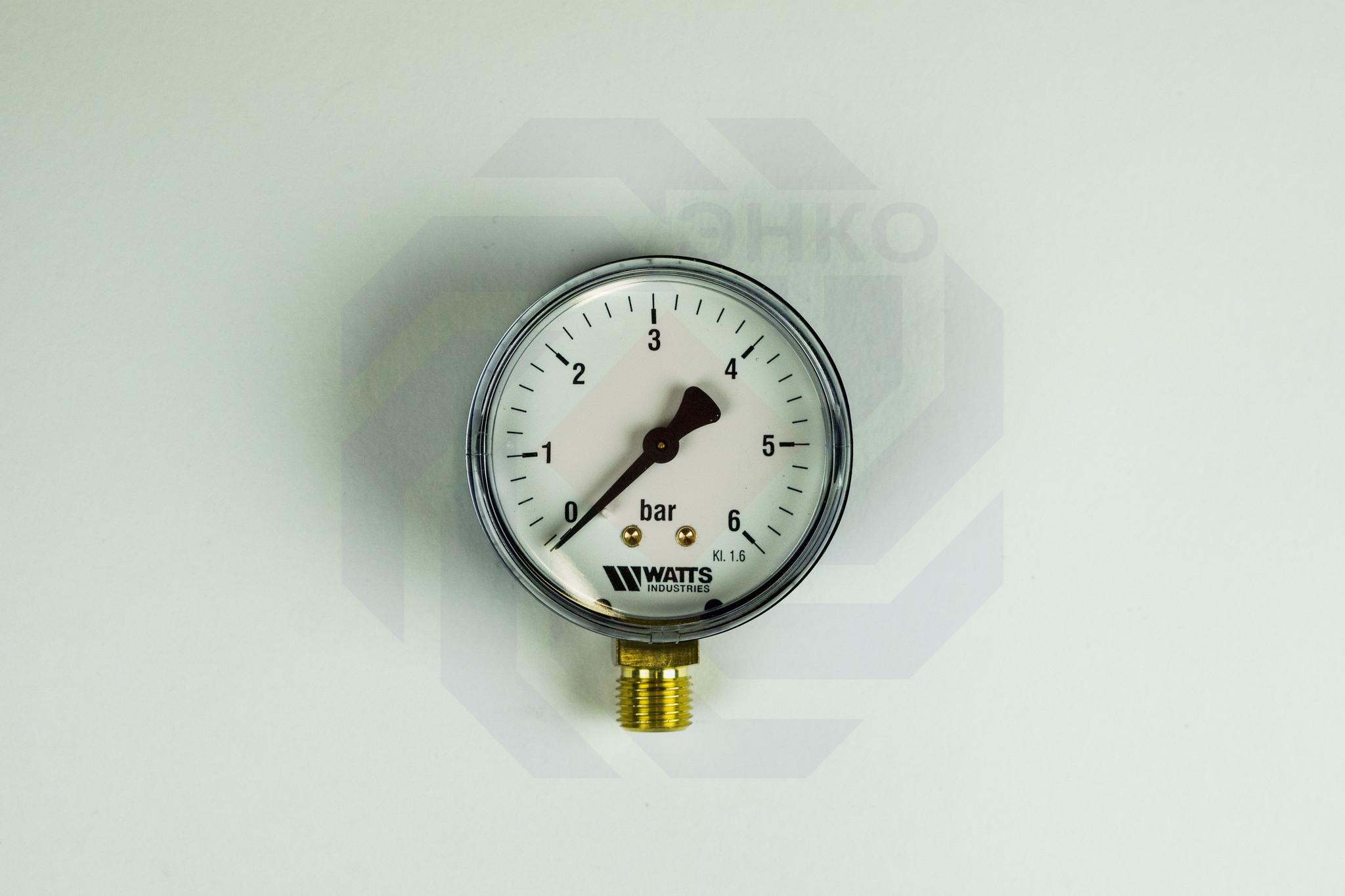 Манометр радиальный WATTS MDR 63/6 (F+R200) 0-6 бар 63 мм ¼