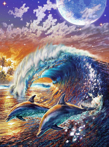 Картина раскраска по номерам 30x40 Дельфины скачут у берега