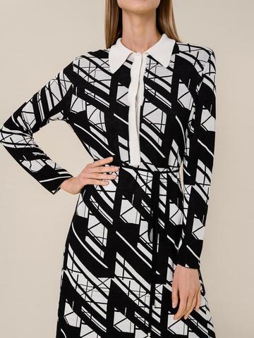 Женское платье А-силуэта черного цвета из шелка и вискозы - фото 3