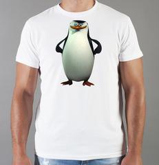 Футболка с принтом мультфильма Пингвины Мадагаскара (Penguins of Madagascar) белая 008