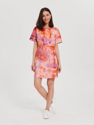 BM Платье пояс-резинка Тай-дай Оранж/Фиолет