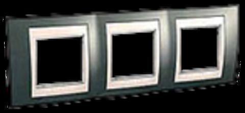 Рамка на 3 поста. Цвет Шампань/Белый. Schneider electric Unica Хамелеон. MGU6.006.824