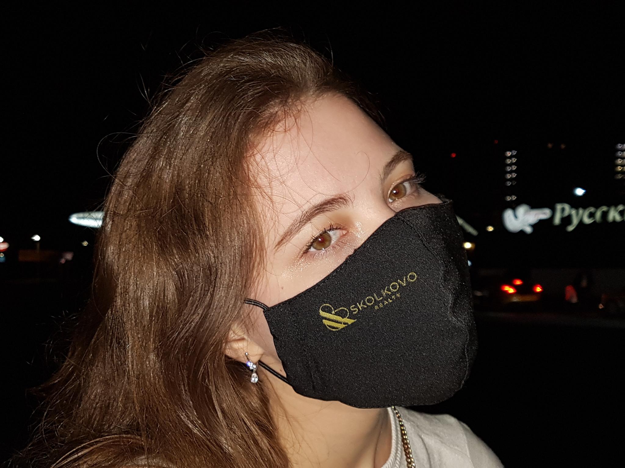 Брендированные черные маски многоразовые текстильные с антибактериальным фильтром