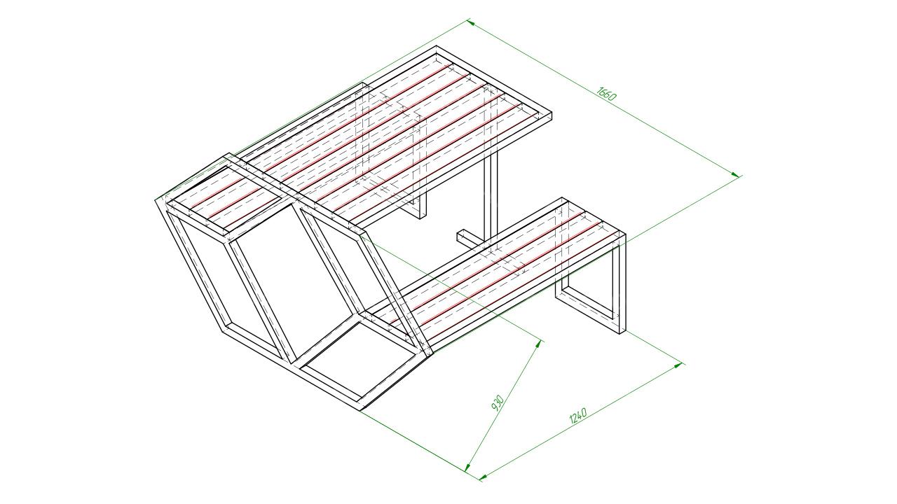 Скамейка со столом SCAM0260