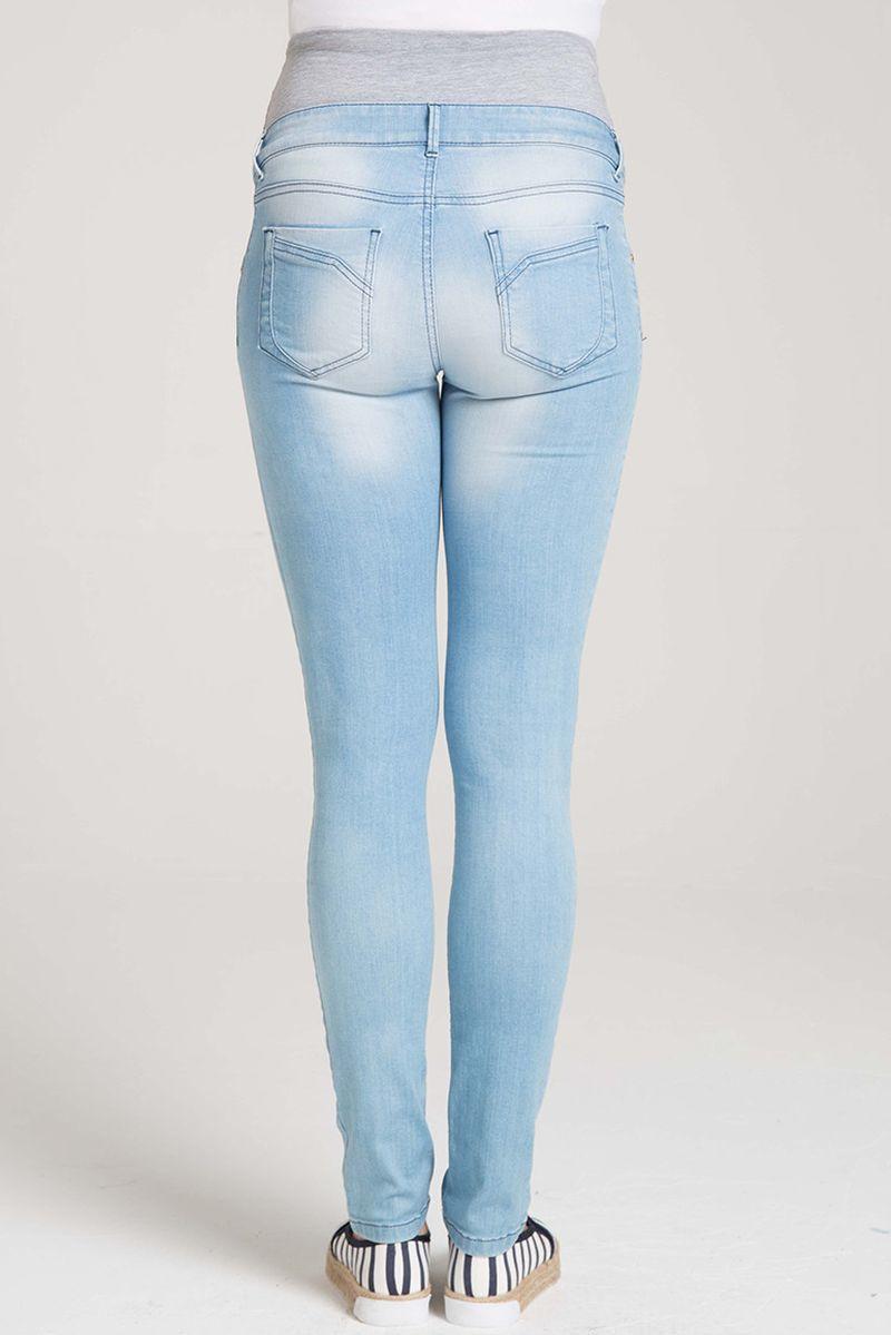Фото джинсы для беременных GEBE, зауженные, широкий бандаж от магазина СкороМама, синий, размеры.