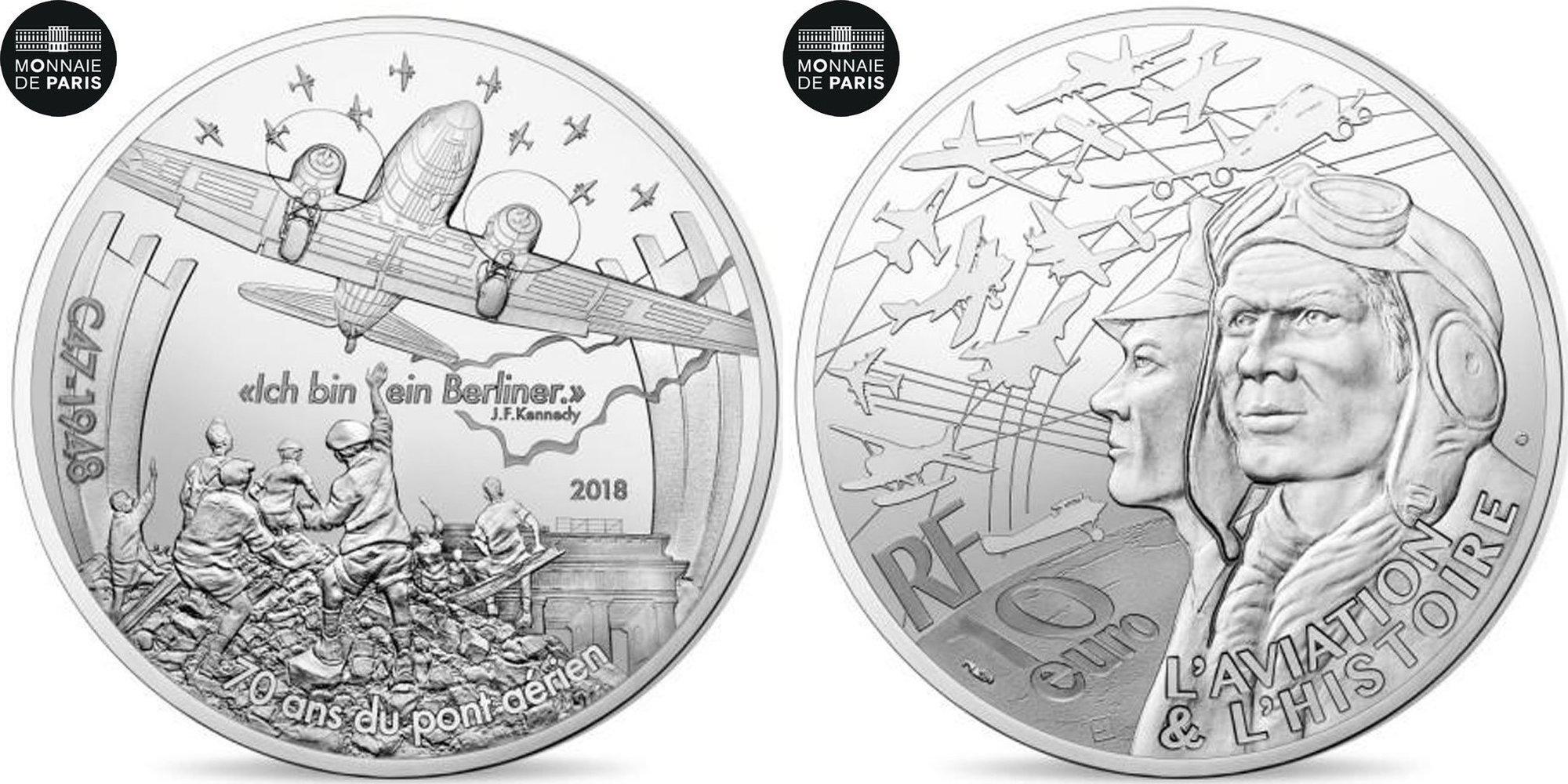 10 евро 2018 год  Самолет Дакота C47. История французской авиации. Война. Франция. Серебро