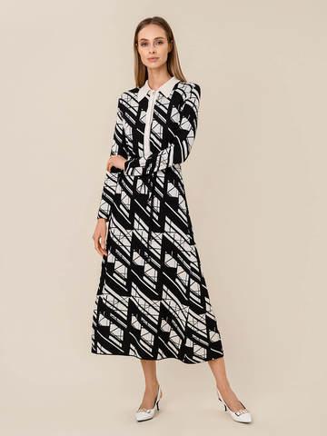Женское платье А-силуэта черного цвета из шелка и вискозы - фото 2