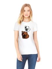 Футболка с принтом Медведь, Медвежонок (Bear) белая w009