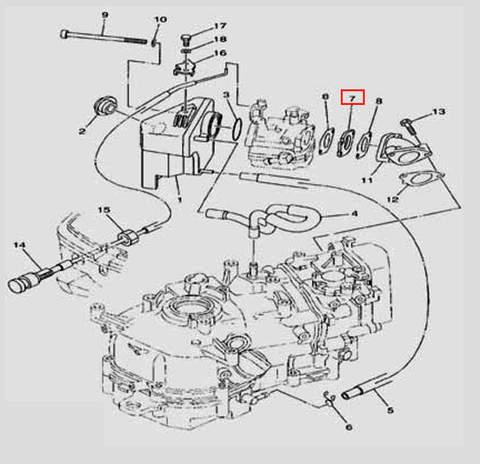 Прокладка карбюратора толстая для лодочного мотора F5 Sea-PRO(6-7)
