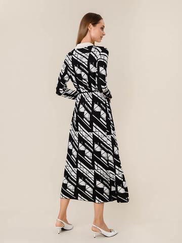 Женское платье А-силуэта черного цвета из шелка и вискозы - фото 4