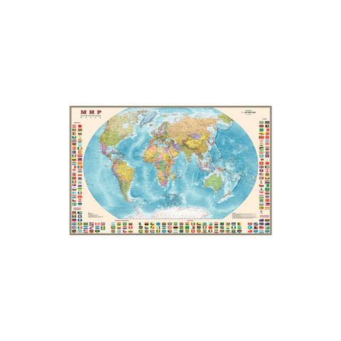 Политическая карта мира с флагами 1:30 млн