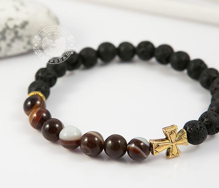 BS682-1 Мужской браслет из камней, лава и полосатый агат, ручная работа, «Boroda Design» фото 04