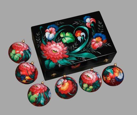 Набор из 6 елочных шаров в шкатулке SET04D-667785780