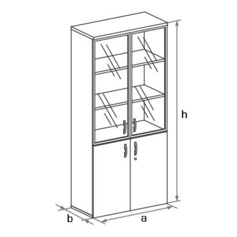 Шкаф высокий с глухими и стеклянными дверцами БОСТОН