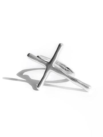 Серебряное кольцо крестик