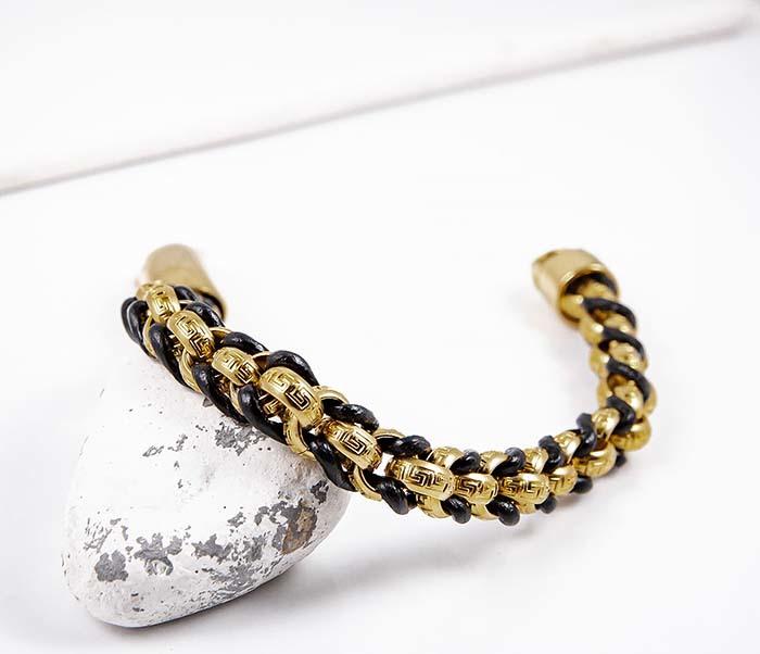 BM491-2 Браслет цепь золотого цвета с кожаным шнуром фото 03