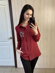 Андреа. Класична сорочка зі стразами. Бордо