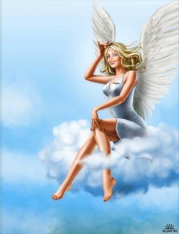 Картина раскраска по номерам 40x50 Ангел на облаке