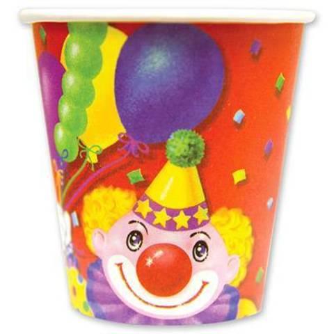 Стакан бум Клоун с шарами 190мл 6шт/G