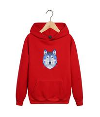 Толстовка красная 006 с капюшоном (худи, кенгуру) и принтом Волк (Wolf)