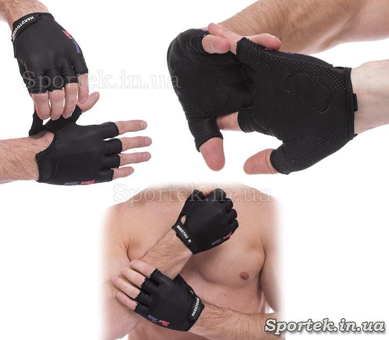 Перчатки HARDTOUCH FG-010 c открытыми пальцами и петелькой для снятия