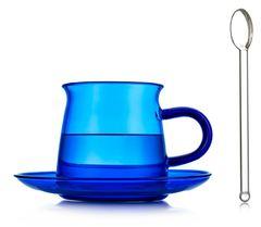Стеклянная чашка синего цвета с блюдцем и ложкой, 200 мл