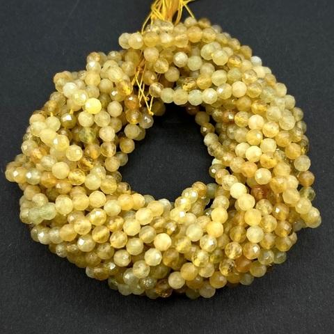 Бусины берилл желтый (гелиодор) A+ граненый 4 мм цена за 48 бусин (~19 см)