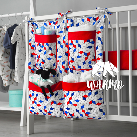 органайзер на ліжечко з синіми і червоними фігурами фото