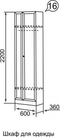 Шкаф для одежды Брайтон 16 Ижмебель ясень асахи