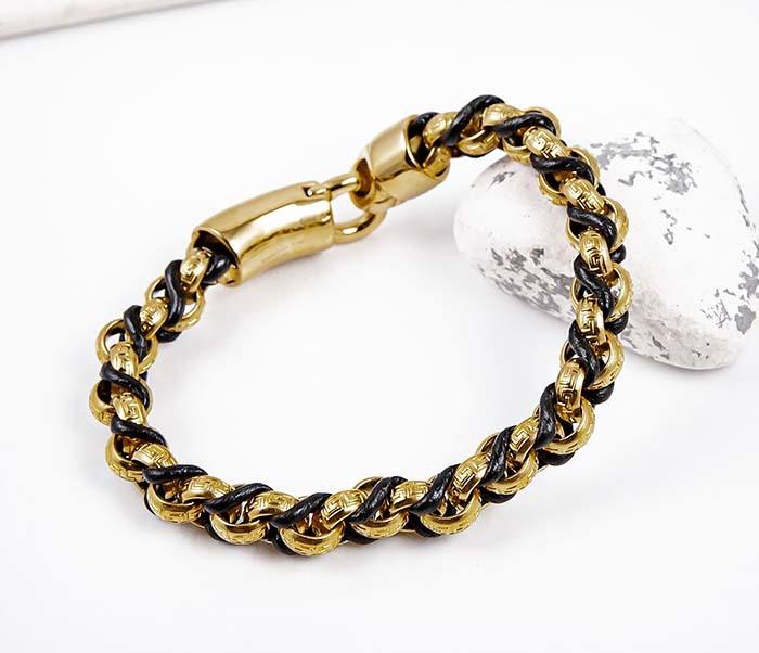 BM491-2 Браслет цепь золотого цвета с кожаным шнуром фото 06